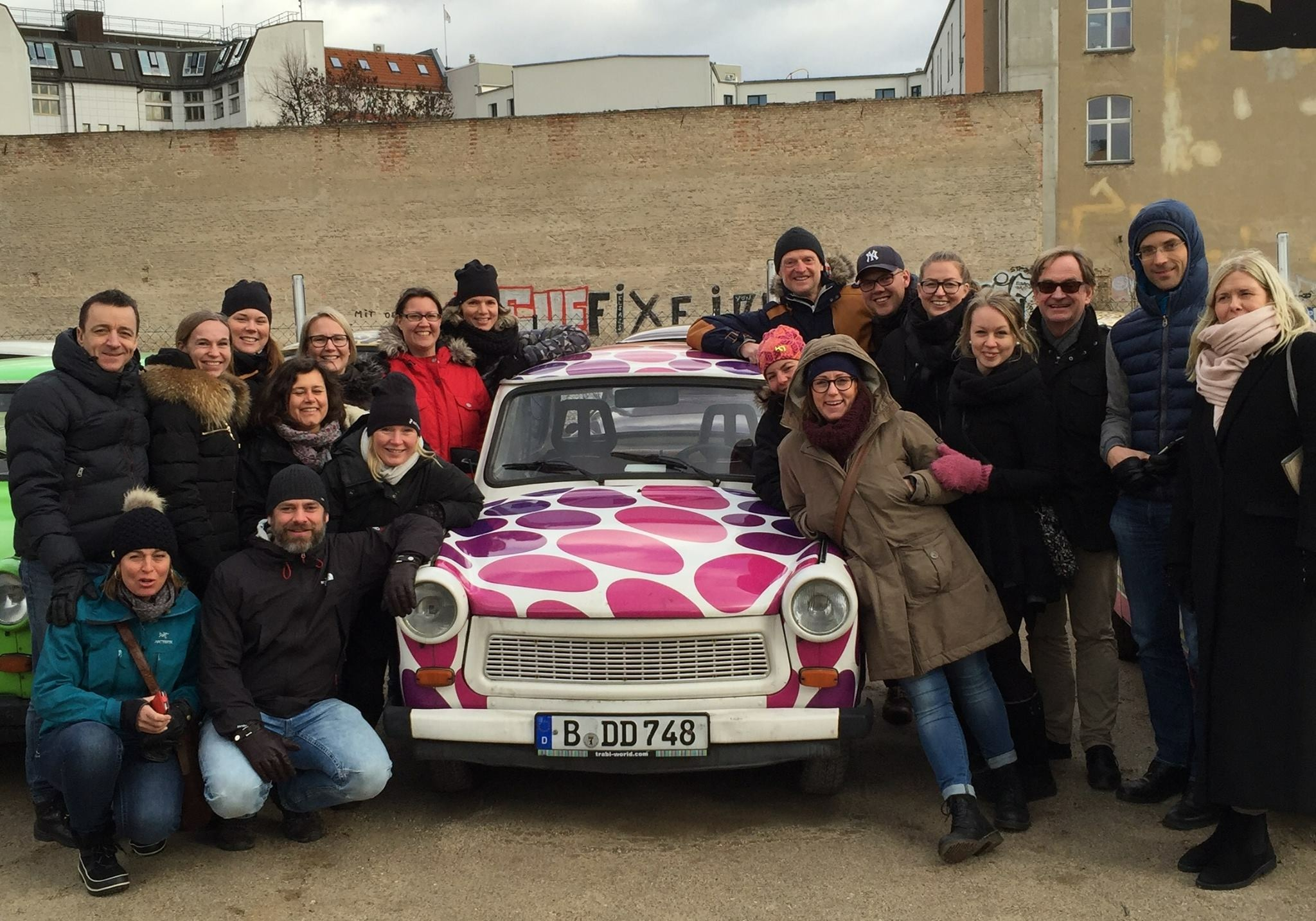 Gruppbild Berlin with Trabi Jan 2016