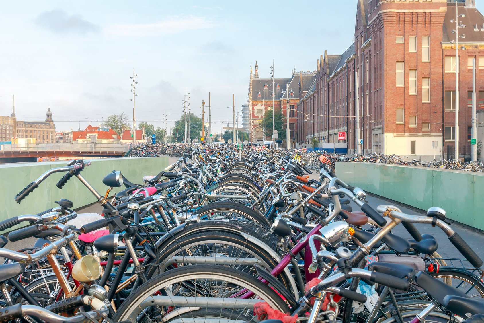 Amsterdam. Bicycle parking in the city center.