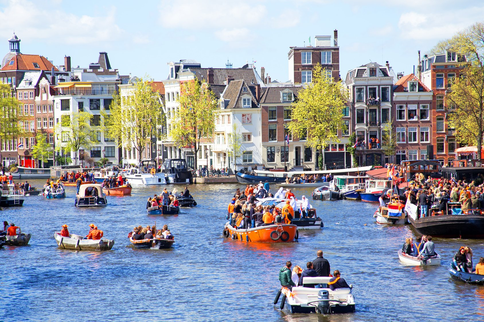 AMSTERDAM - APR 27: People celebrating Kings Day in Amsterdam on