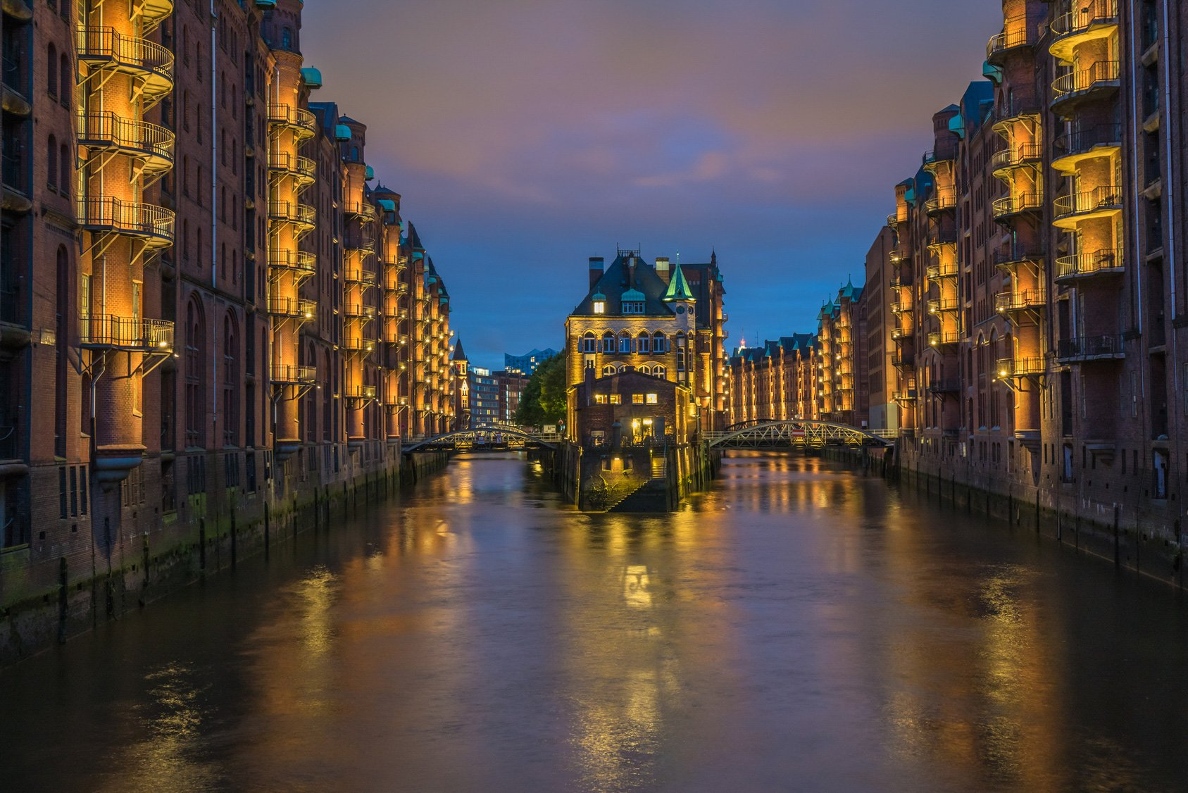 Water castle in old Speicherstadt or Warehouse district, Hamburg